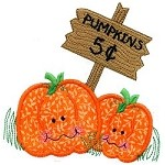 Two Pumpkins Applique Design